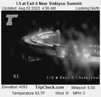 Interstate 5 Siskiyou Exit 6, elevation 4060 feet, between Ashland Oregon and Yreka California.  Courtesy Oregon Department of Transportation.