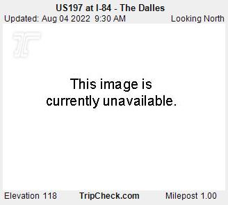 Interstate 84 at The Dalles.  Courtesy Oregon Department of Transportation.