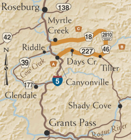 Canyonville Oregon Map The Myrtle Creek—Canyonville Tour Route | TripCheck   Oregon