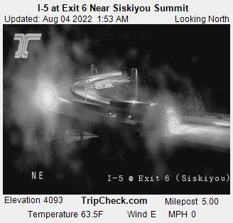 RoadCam - I-5 at Siskiyou Summit - Exit 6