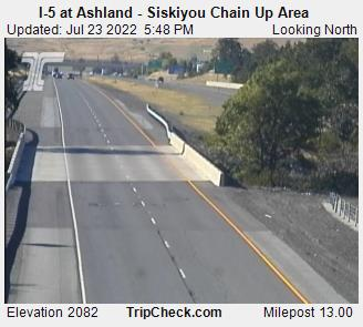 I-5 at Ashland, Siskiyou Summit Chain up area (north)