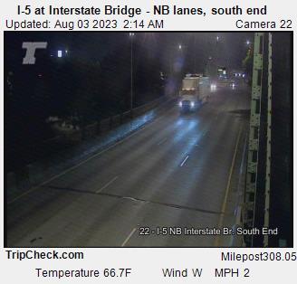 I-5 at Interstate Bridge (northbound lanes, south end)
