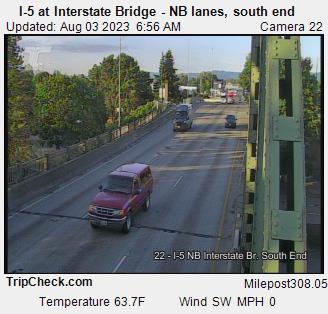 I-5 at Interstate Bridge NB, south end