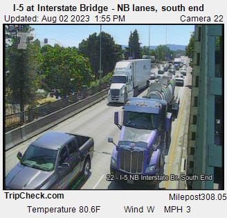 Camera 1002: I-5 at Interstate Bridge NB, south end