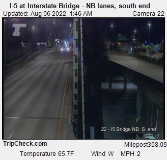 Camera 1002: I-5 at Interstate Bridge NB, south end