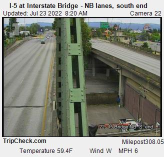WSDOT - I-5 at Interstate Bridge NB, south end - North Portland