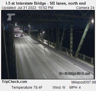 I-5 at Interstate Bridge (southbound lanes, north end)