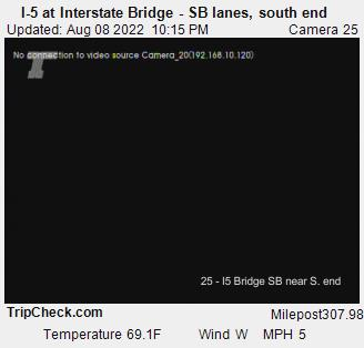 I-5 at Interstate Bridge (southbound lanes, south end)