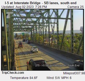 I-5 at Interstate Bridge SB, south end