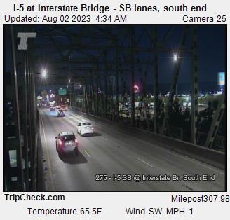 Camera 3033: I-5 at Interstate Bridge SB, south end