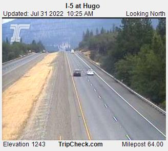 Interstate 5 at Hugo, view Northbound at Milepost 64, elevation 1500 ft.