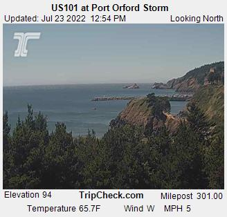 RoadCam - US101 at Port Orford Storm