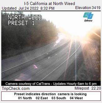 RoadCam - I-5 California at North Weed